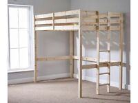4ft small double pine high sleeper bed