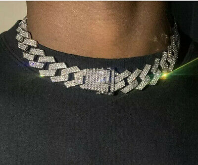 """20mm Iced Cuban Link Prong Diamond Chain Necklace Silver Plated 18"""" brand new"""