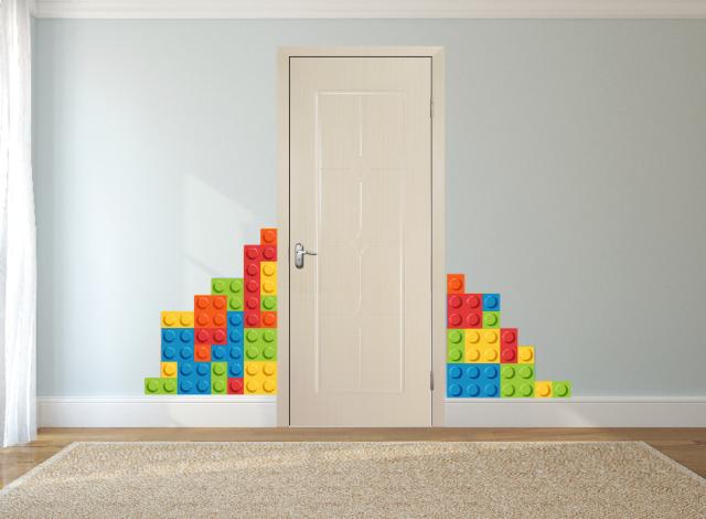 Lego Bricks Wall Sticker Childrenu0027s Bedroom Wall Art Decal Mural.