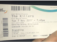1x The Killers General Admission Standing ticket, Genting Arena, Birmingham, Tue 7th Nov