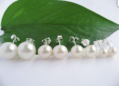 Wholesale Natural White Akoya Freshwater Pearl Sterling 925 Silver Stud Earrings