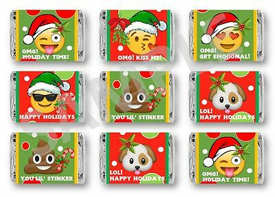 Emoji Christmas Mini Candy Bar Wrappers - Party Favors - Set of (Mini Candy Bar Wrapper)