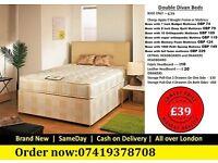 CHEAPEST DOUBLE DIVAN BED FRAME WITH MEMOREY FOAM MATTRESS