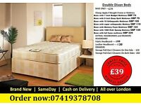 NEW CHEAPEST DOUBLE DIVAN BED FRAME WITH MEMOREY FOAM MATTRESS