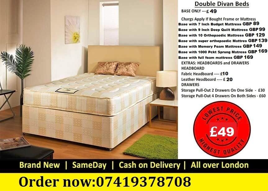 SHAM SINGLE DOUBLE SMALL KINGSIZE Double Base Dlvan Beddingin Enfield, LondonGumtree - IMPRESSIVES OFFER....EXTREME Quality Furniture like Divan and Leather Base available contact us