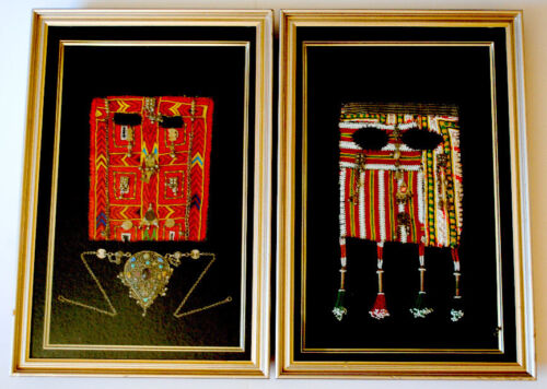 Two Framed Bedouin Face Veils and Necklace, Saudi Arabia, Northern Sinai