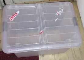 large wheeled storage box with lid - hard plastic