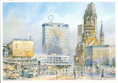 Europa-center (1g089  BERLIN Gedächnis Kirche Europa Center Aquarell AK Zoecke 1960er)