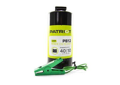 Patriot - Pb12 Portable Dc Electric Fence Charger Energizer -10 Mile 40 Acre