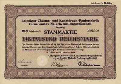 Leipziger Chromo Kunstdruck Papierfabrik Gustav Najork 1934 Leipzig 1000 RM ADCA