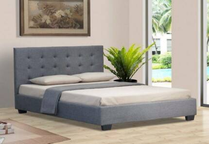 ALLY DOUBLE QUEEN GREY BEIGE WHITE WOODEN FABRIC BED FRAME ISF-AL Wildwood Hume Area Preview