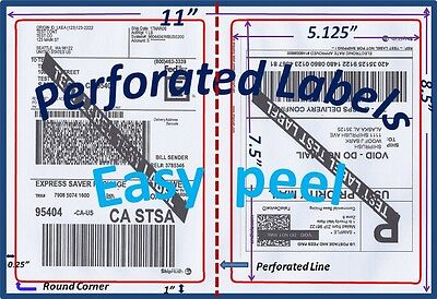 1200 Perforated Round Corner Shipping Labels 2 Per Sheet-8.5 X 11-self Adhesive