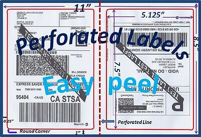 500 Perforated Rounded Corner Shipping Labels 2 Per Sheet-8.5 X 11-self Adhesive