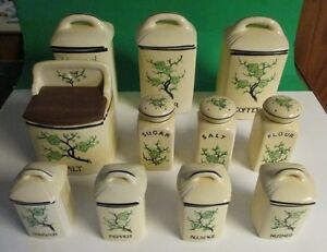 Moriyama Kitchen Pottery 1920's Ming Tree design 11 pieces rare