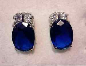 Genuine SAPPHIRE Earrings in Gold plated on Solid Silver setting