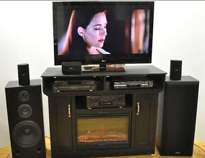 LG 47 Inch TV Fireplace Technics Surround Home Theater System