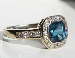 14k white gold engagement ring w/ diamonds & london blue topaz