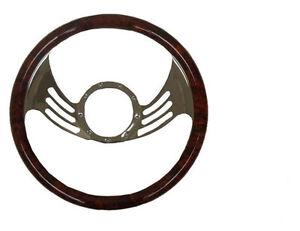 "14"" Billet Steering Wheel Simulated Mahogany Wood Wrap"