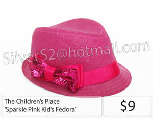 - = The CHILDREN'S PLACE Pink Sparkle Bow Hat Fedora-Style = -