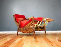 1960's Vintage Scandinavian Teak Recliner Lounge Chair