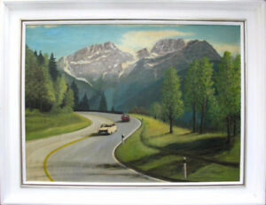 LARGE 1991 Austrian painting by W. Romberg. Cars Racing. SIGNED!