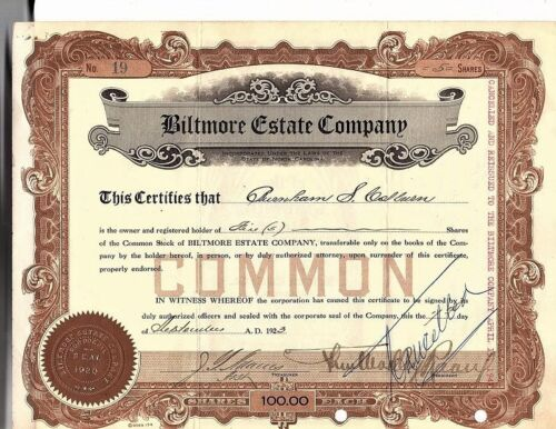 Biltmore Estate Company Stock Certificate, 1923, WWII Reissue, Great Signatures