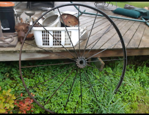 Vintage metal wagon wheel