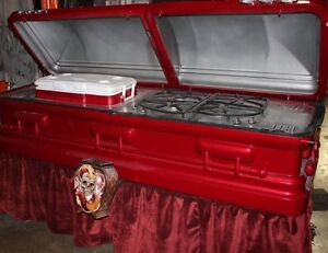 Attention Halloween Hardcore- Real Coffin w/Cooler & Cooking Gri