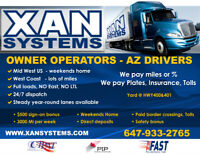 AZ Owner Operators and Truck Drivers. MidWest and WestCoast