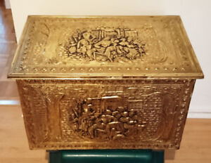 Vintage Victorian Embossed Brass/Wood Fireplace Log Box