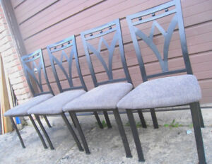 Used 4 Metal Dining Chairs, black frame, sturdy, good condition