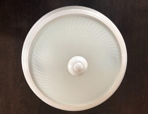 IMPECCABLE; Ens. de 3x Plafonniers en Verre strié & givré Blanc