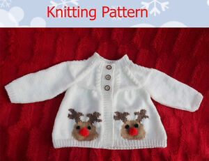 Knitting pattern for 6-12 month baby Cardigan Rudolph the Reindeer motif