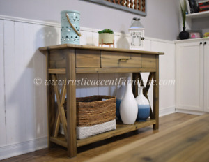 Rustic console/entry/side table - new (breadboard top)