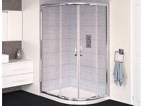Brand New Aqualux 1200x800 Offset Quadrant Enclosure in White