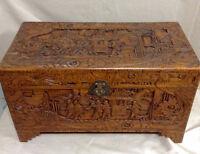 382: Camphor Wood Handcarved Large Trunk Chest $395