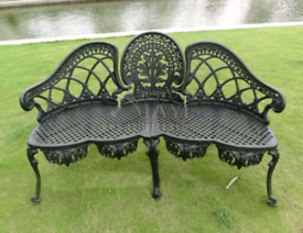 Cast 3 seater garden bench and other furniture