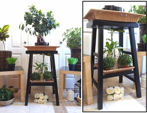 """Solid Plant Stand + 2 Baskets, H 29"""" (TEXT/CALL Pls)"""
