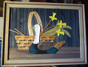 "Wooden Folk Art by Theodore Degroot ""Country Daffodils"" 1970's Stratford Kitchener Area image 1"