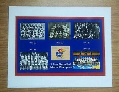Kansas Jayhawks Mat - KANSAS JAYHAWKS ALL 5 BASKETBALL NATIONAL CHAMPS TEAMS MATTED PHOTO