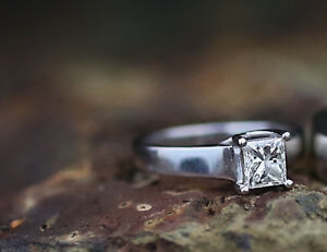 Large Princess Cut Diamond Engagement Ring with Papers