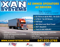 AZ Owner-Operators $1.75/M. AZ Drivers -$.70/M. Full Load.