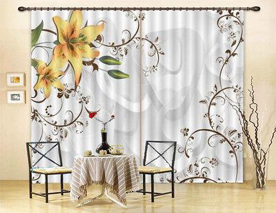 Flamboyant Flowers 3D Curtain Blockout Photo Printing Curtains Drape Fabric (Flamboyant D)