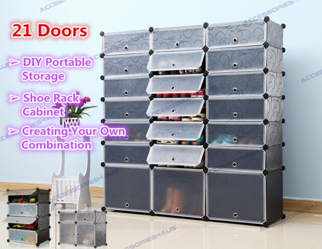 21 Doors DIY Shoe Cabinet Rack Portable Stackable Storage Clothes Toys  Organizer