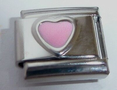 Opal Italian Charm (PINK HEART Italian Charm - October Birthstone I Love you - fits 9mm Bracelets)
