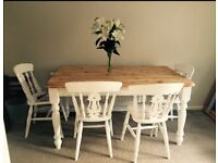 6 seater farm house table and 6 chairs