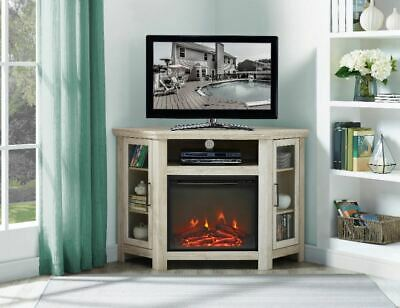 Corner Fireplace TV Stand Electric Fire Heater Media Console Cabinet Furniture Corner Tv Cabinet White
