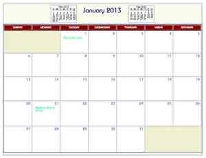 Printable PDF Wall Calendar with Federal Holidays 2011, 2012, 2013, 2014..etc