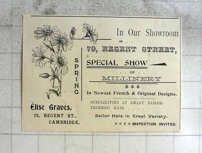 1900 Elise Graves Special Show Of Millinery Regent Street Cambridge