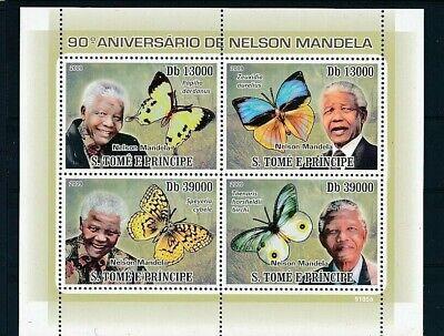 D241309 Famous People Nelson Mandela Butterflies S/S MNH S.Tomé E Principe